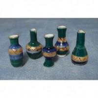 Set of 5 Blue & Gold Vases D2232