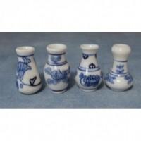 Blue Floral Vases, 4 pack D2236