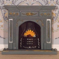 2987 Large Grey/Gold Fireplace