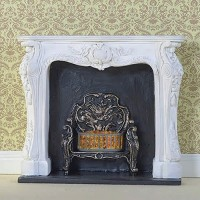 8090 White Rococo Fireplace